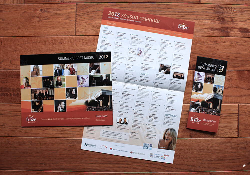 Season calendar brochure and newspaper insert
